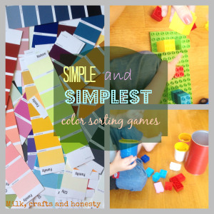 Simple to set up color sorting games for young toddlers.