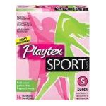 Playtex feminie care - Sport Plastic Fresh Scent Super Absorbency Tampons 16 16 tampons 0078300098850  / UPC 078300098850