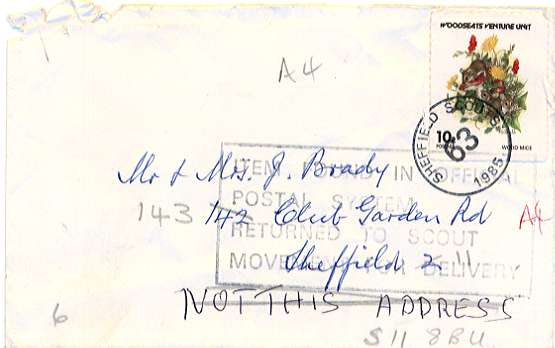 misdelivered Sheffield Scout Post cover with Royal Mail rubber stamp to redirect them back to the Scout Postal System.