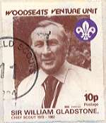 1984 Sheffield Scout Stamp showing Chief Scout Sir William Gladstone 1972-82.