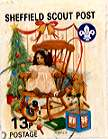 Sheffield Scout Stamp 1992 Teddy bear and doll in rocking chair.