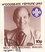 1984 Sheffield Scout Stamp showing Chief Scout Major-General Michael Walsh 1982-88.