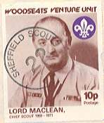 1984 Sheffield Scout Stamp showing Chief Scout Lord Maclean 1959-71.