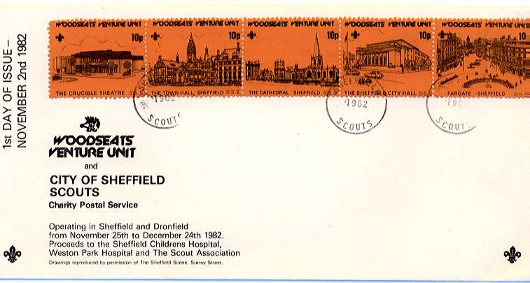 First Day cover of Sheffield Scout Post - Woodseats Venture Unit for 1982.