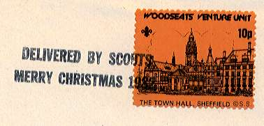 Single 1982 Sheffield Scout Post stamp with straight-line cancel.