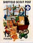 Sheffield Scout Stamp 1992 Teddy bear, pram and dolls' house.