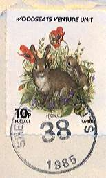 1985 Sheffield Scout Post rabbit stamp.