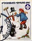 Sheffield Scout Stamp 1988 Buidling a Snowman.