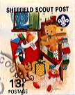 Sheffield Scout Stamp 1992 Teddy bear, bed and toys.