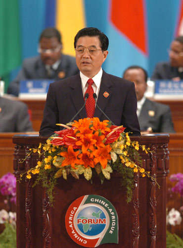 Chinese President Hu Jintao gives a speech at the opening ceremony of the Beijing Summit of the Forum on China-Africa Cooperation (FOCAC) at the Great Hall of the People in Beijing, Nov. 4, 2006.