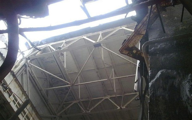 A section of power plant roof collapses