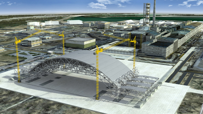 A computer-simulated image of the construction of the New Safe Confinement