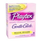 Playtex feminie care - Gentle Glide Tampons With Comfortable Plastic Applicator Regular Absorbency Fresh Scent 0078300084792  / UPC 078300084792