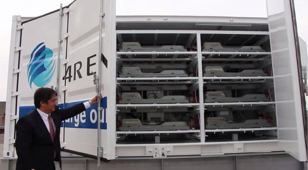 A glimpse inside a 4R Energy used EV battery storage system