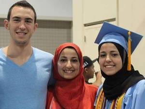 The victims of the shooting, from left to right: Deah Shaddy Barakat, 23, his wife Yusor Mohammad, 21, and her sister, Razan Mohammad Abu-Salha, 19
