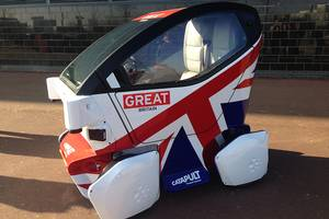 A Lutz Pathfinder pod is one of the driverless cars being trialled on UK roads