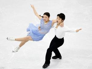 13 February 2015: Maia Shibutani and Alex Shibutani of the U.S. perform during the ice dance free dance program competition at the ISU Four Continents Figure Skating Championships in Seoul