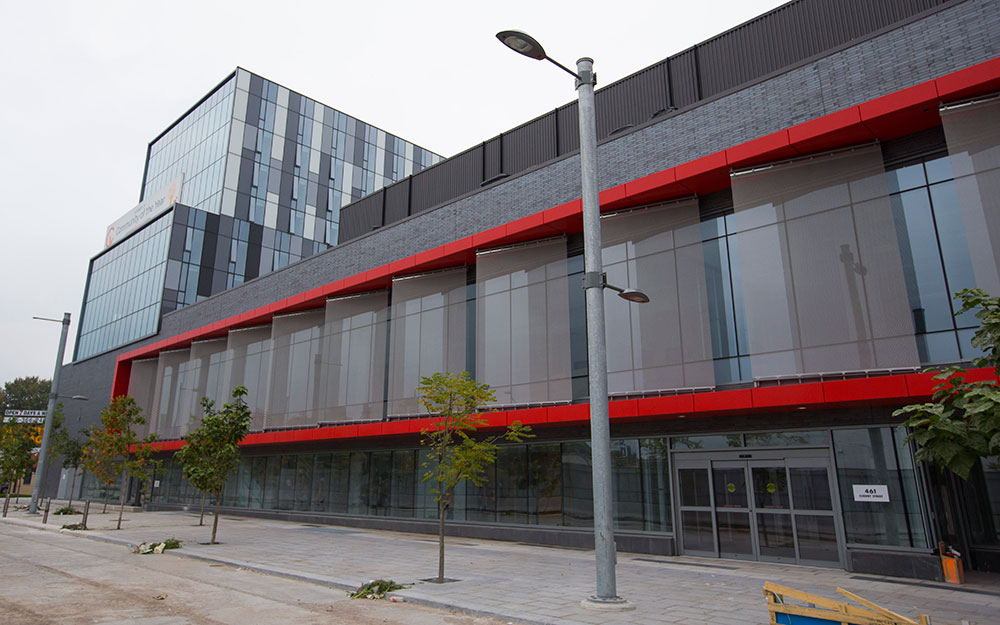 The exterior of the future YMCA building in the Canary District, which will serve some of the 10,000 athletes for the Pan Am Games and then become a community resource in the new neighbourhood.