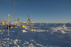 Ice floe coordinate system 'origin point', set up using a GPS receiver and a robotic total station