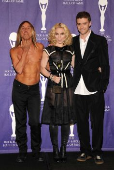 Singers Iggy Pop (L) and Justin Timberlake (R) pose with inductee Madonna in the press room during the 2008 Rock & Roll Hall of Fame Induction ceremony at the Waldorf-Astoria Hotel March 10, 2008 in New York City. Photo: Bryan Bedder, Getty Images / 2008 Getty Images
