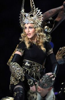 Madonna performs during the Bridgestone Super Bowl XLVI Halftime Show at Lucas Oil Stadium on February 5, 2012 in Indianapolis, Indiana. Photo: Christopher Polk, Getty Images / 2012 Getty Images