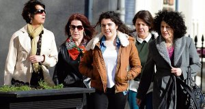 Family of the late cyclist Paud O'Leary, including his wife Maggie and daughter Shannon, arrive at the Circuit Criminal Court in Tralee,Co Kerry yesterday. Picture: Don MacMonagle