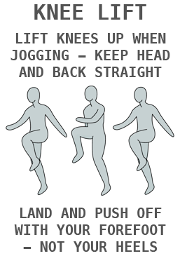 Example card showing instruction on how to perform a knee lift