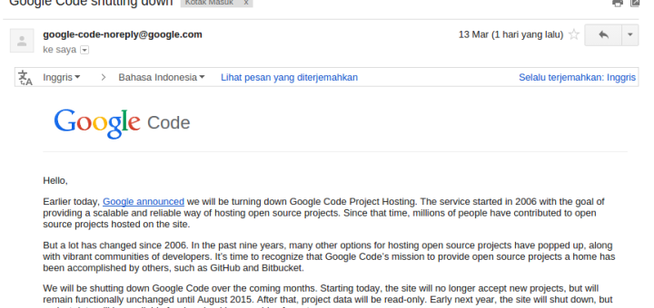 Google Code Berhenti - Shutting Down