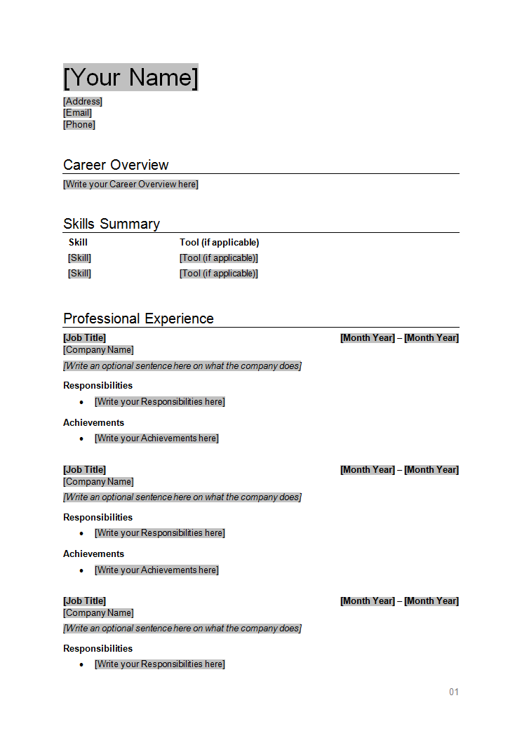 Resume Template - Page 1