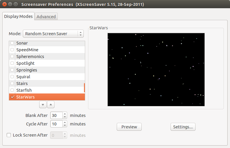 The XScreensaver Preferences Tool
