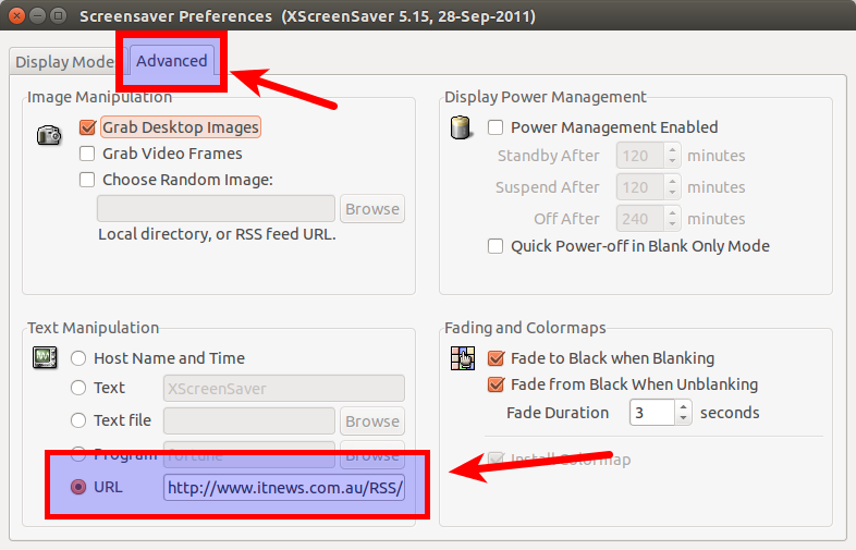 Setting the RSS Feed for the XScreensaver