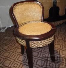 藤木茶艺椅 矮背茶水椅 休闲聊天椅 圆椅
