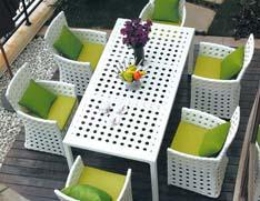 藤制户外餐桌椅
