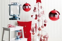 Cute Minimalist White Red Christmas Decorating Ideas with Small Tree Pictures