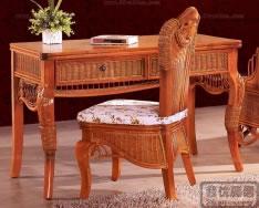 藤艺写字台椅