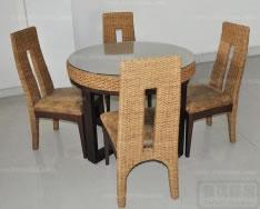 藤制圆桌高背椅