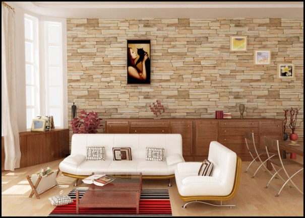 Elegant Stone Interior Wall for Small Living Room
