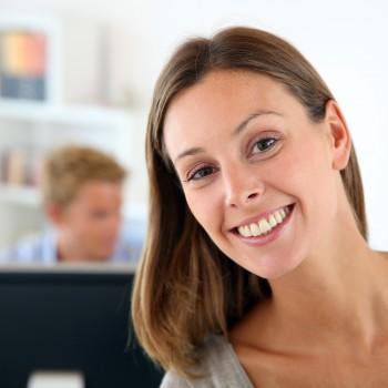 happy-woman-work-office
