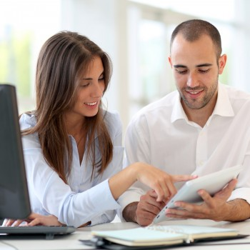 man-woman-working-together
