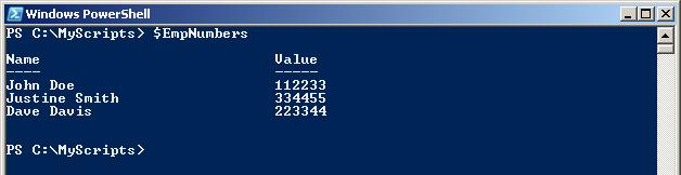 PowerShell Trianing Hash table