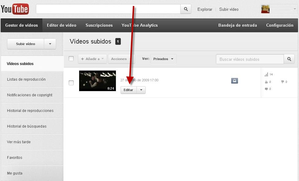 como editar un video en youtube