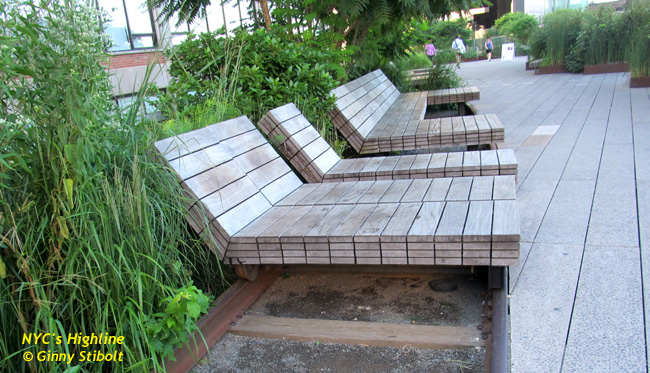 Chaise lounges are built on rollers over the tracks.