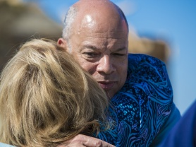 Secretary of Homeland Security Jeh Johnson comforts a disaster survivor in the residential neighborhood of Plantation Drive in Mayflower after it was hit by an EF-4 tornado on April 27, 2014.