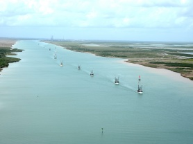 Mexican Shrimping Fleets Depart the Port of Brownsville after Safe Harbor from Tropical Storm Dolly
