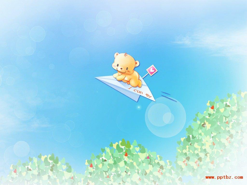 可爱ppt背景图片,可爱小熊童年梦想 ,图片素材