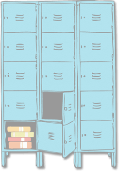 school locker with books