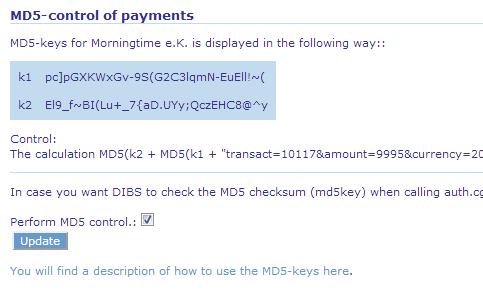 DIBS admin MD5