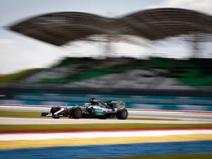 27 March 2015: Mercedes driver Lewis Hamilton of Britain steers his car during the second practice session for the Malaysian Formula One Grand Prix at Sepang International Circuit in Sepang, Malaysia