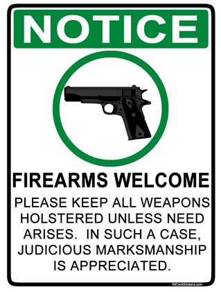 Firearms Welcome Sticker