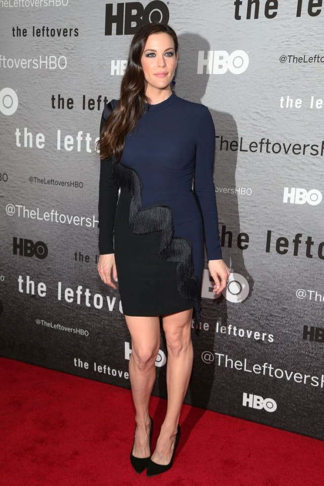 "Liv Tyler wearing a fringe dress on the premiere of ""The Leftovers."""